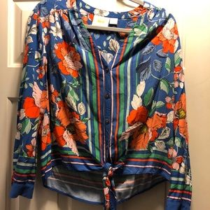 Tropical Floral Maeve Anthropologie Blouse